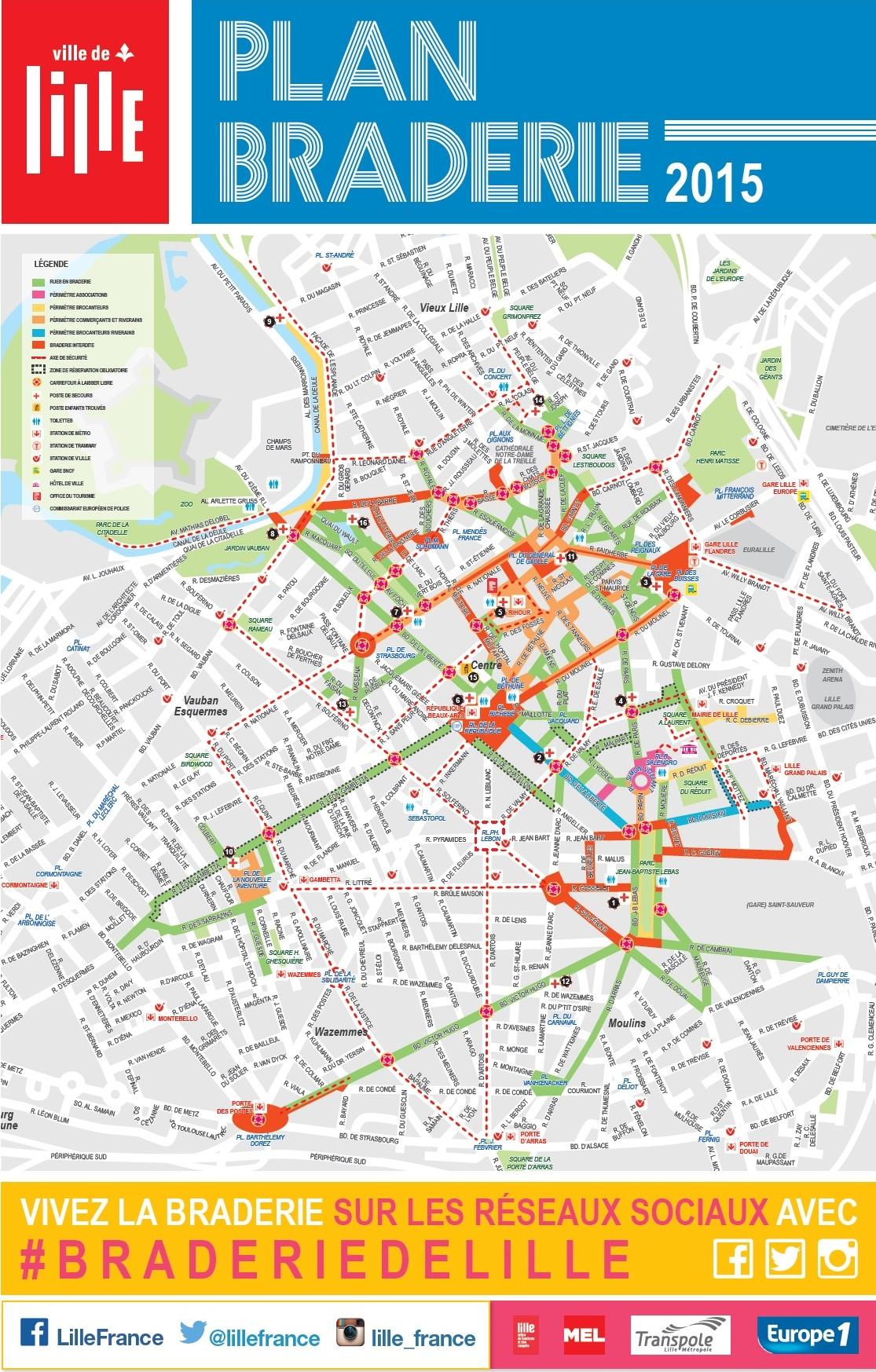 Plan de la Braderie de Lille 2015